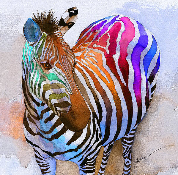 Colorful Poster featuring the painting Zebra Dreams by Galen Hazelhofer