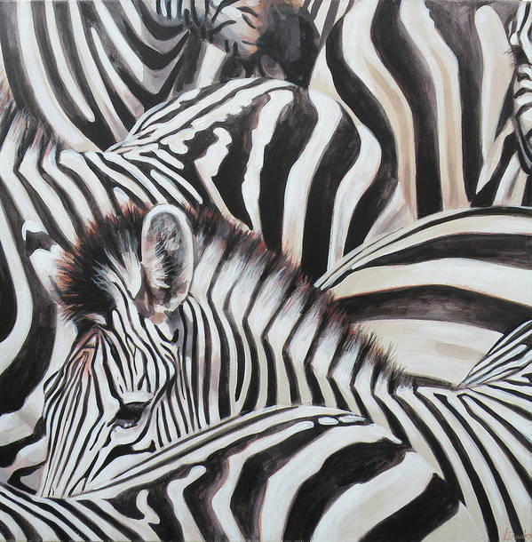 Poster featuring the painting Zebra Triptyche Middle by Leigh Banks