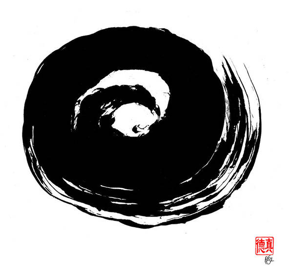 Zen Poster featuring the painting Zen Circle Wave by Peter Cutler