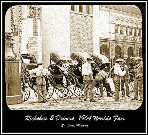Two-wheeled Poster featuring the photograph Rickshas And Drivers, 1904 Worlds Fair by A Gurmankin