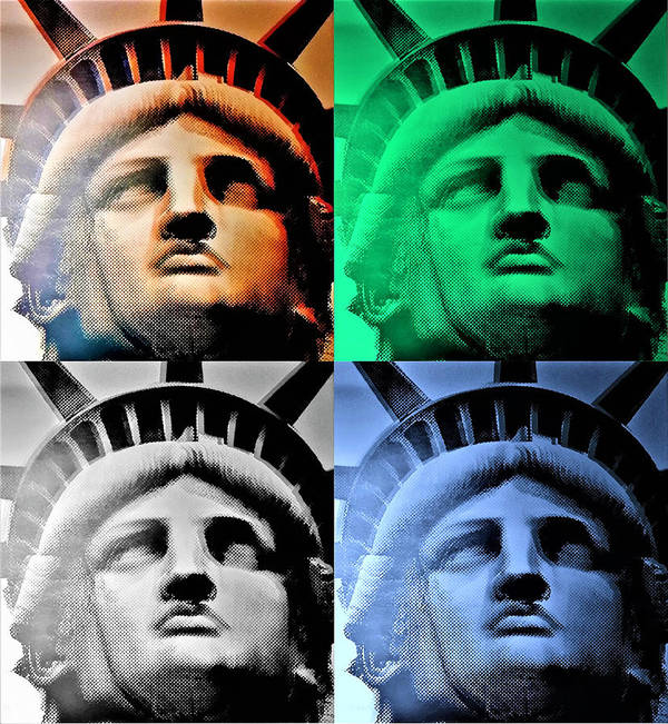 Statue Of Liberty Poster featuring the photograph Lady Liberty In Quad Colors by Rob Hans