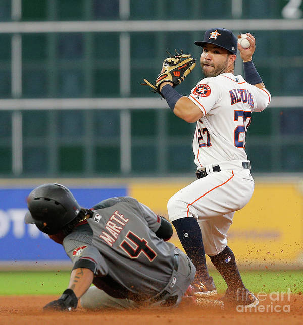 Double Play Poster featuring the photograph Arizona Diamondbacks V Houston Astros by Bob Levey