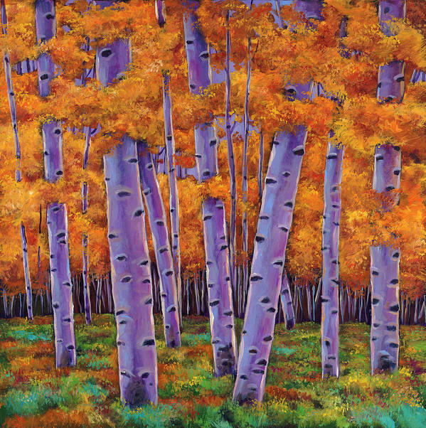 Aspen Trees Poster featuring the painting A Chance Encounter by Johnathan Harris