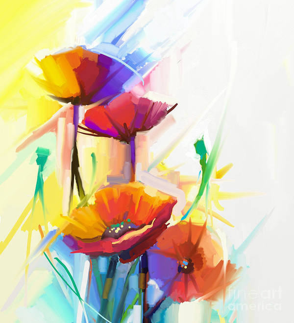 Fragrances Poster featuring the digital art Abstract Oil Painting Of Spring Flower by Pluie r