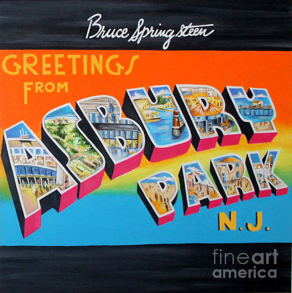Asbury Park Poster featuring the painting Asbury Park Bruce Springsteen by Amy Belonio