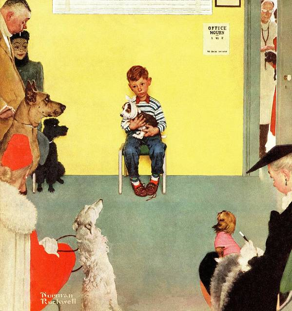 Boy Poster featuring the drawing At The Vets by Norman Rockwell
