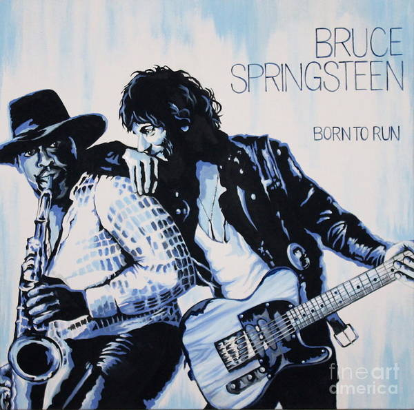 Bruce Springsteen Poster featuring the painting Born to Run Bruce Springsteen by Amy Belonio