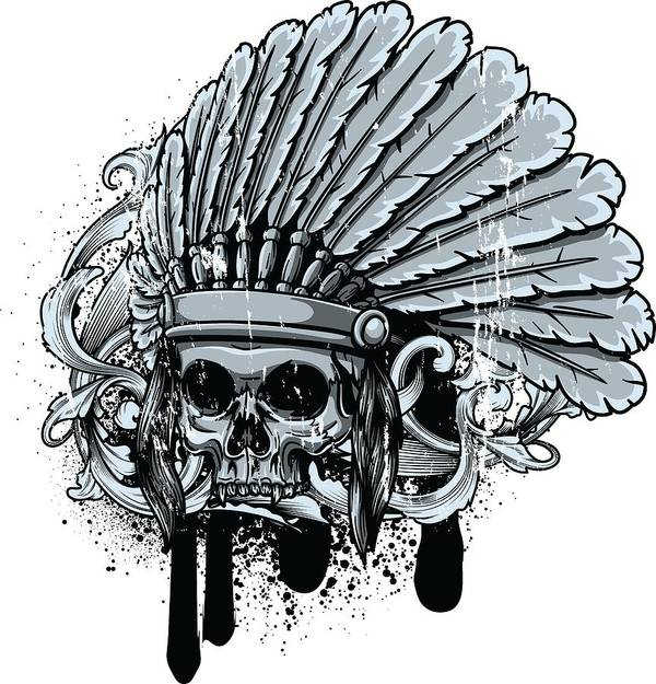 Skull Poster featuring the digital art Chebeya Skull With Headdress by Passion Loft