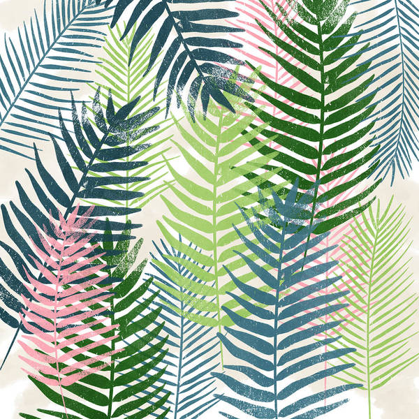 Tropical Poster featuring the mixed media Colorful Palm Leaves 2- Art by Linda Woods by Linda Woods