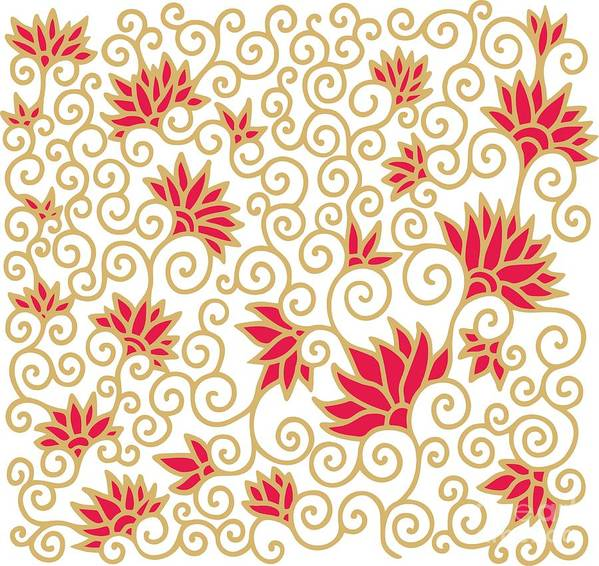 Deco Poster featuring the digital art Decorative Floral Composition With by Aniana