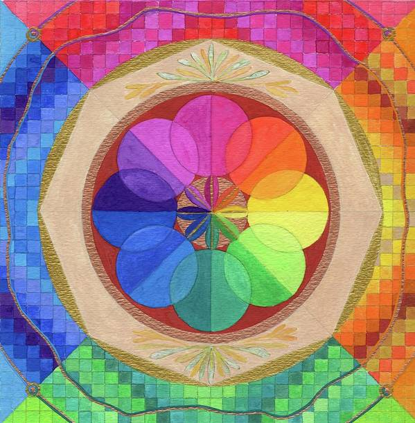 Mandala. Spiritual Principle. Rainbow Colors Poster featuring the painting Group Endeavor by Sandy Thurlow