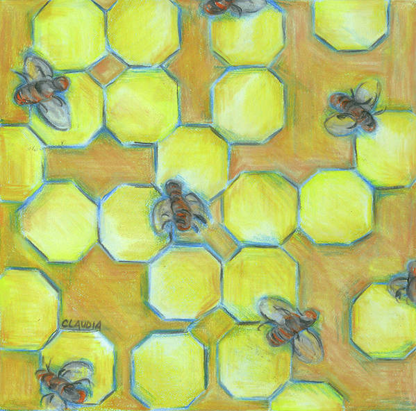 Honeycomb Poster featuring the painting Honeycomb by Claudia Interrante