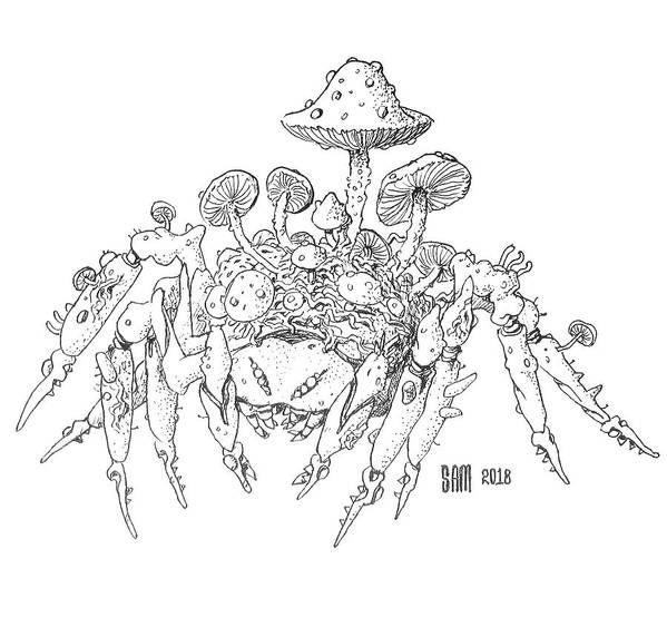 Spider Poster featuring the drawing Infested Spider by Sami Matilainen