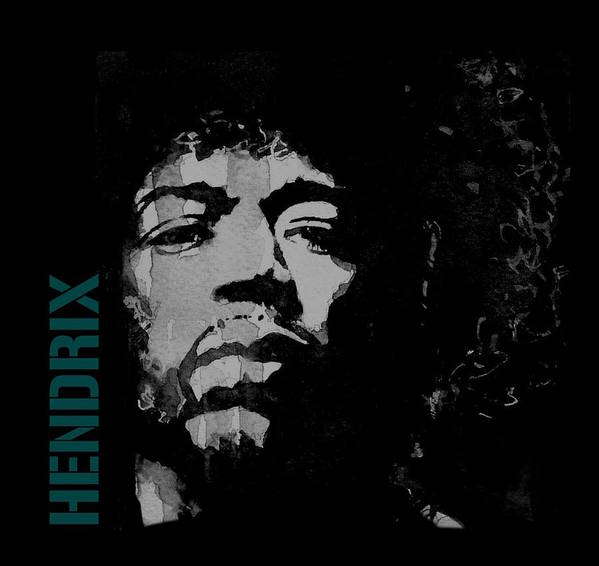 Jimi Hendrix Poster featuring the mixed media Jimi Hendrix - Retro Black by Paul Lovering