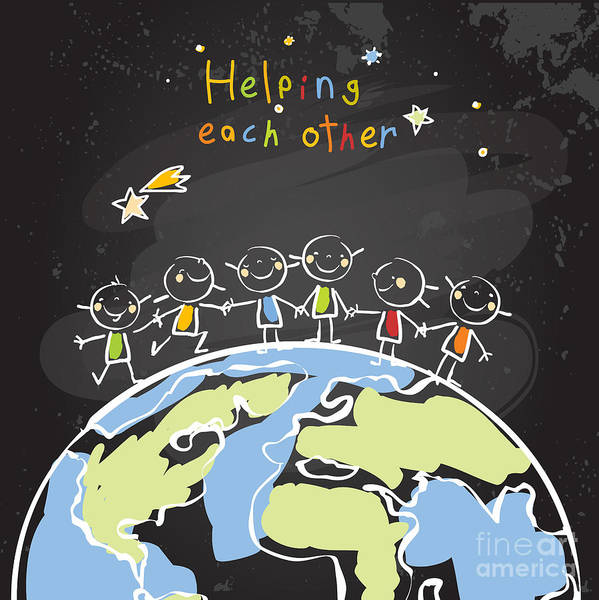 Trust Poster featuring the digital art Kids Helping Each Other, Global by Lavitrei