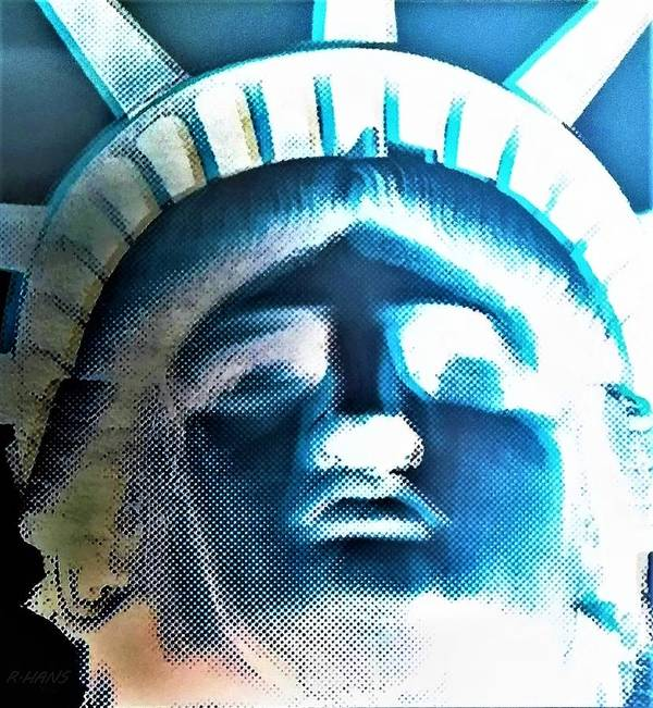Statue Of Liberty Poster featuring the photograph Lady Liberty In Negative by Rob Hans