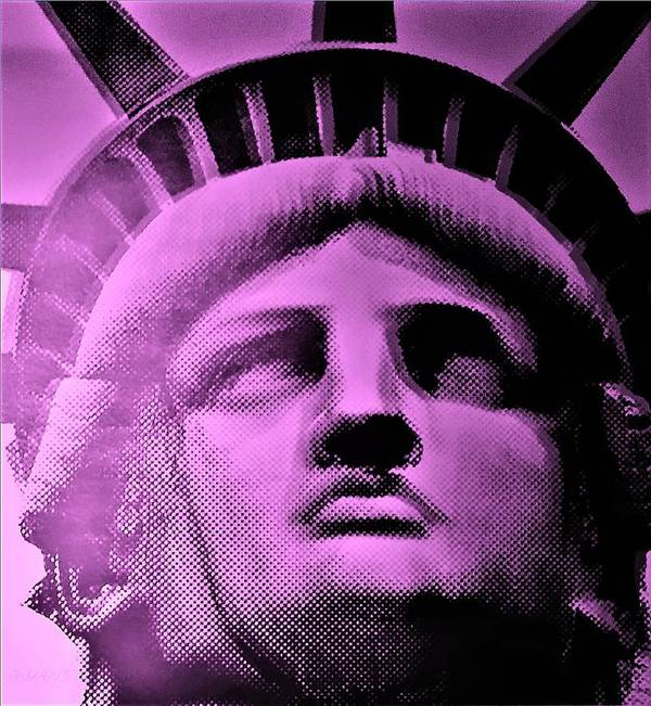 Statue Of Liberty Poster featuring the photograph Lady Liberty In Pink by Rob Hans
