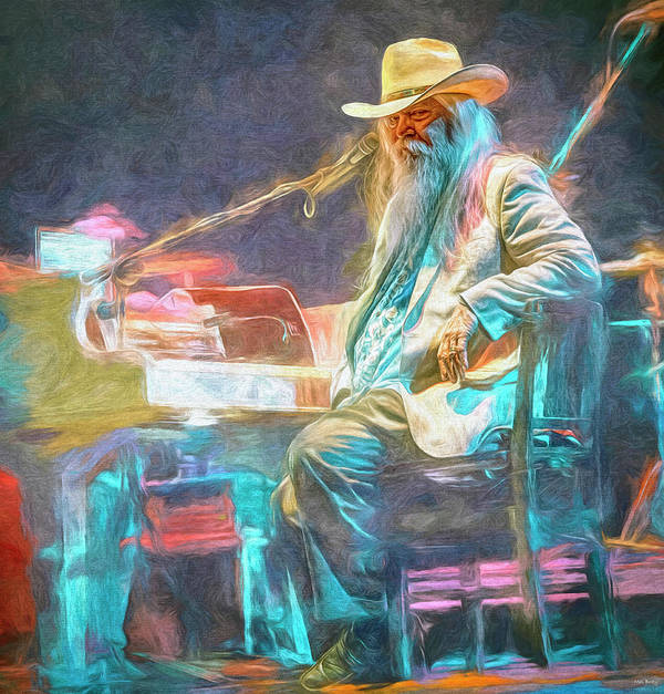 Leon Russell Poster featuring the mixed media Leon Russell by Mal Bray
