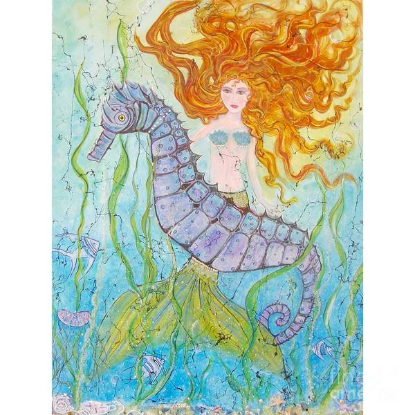 Mermaid Poster featuring the painting Mermaid Fantasy by Midge Pippel