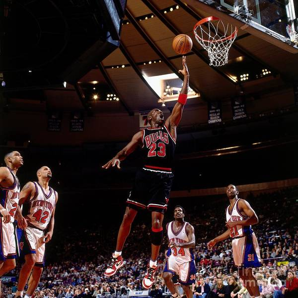 Chicago Bulls Poster featuring the photograph Michael Jordan Action Portrait by Nathaniel S. Butler