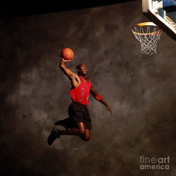 Chicago Bulls Poster featuring the photograph Michael Jordan Mock Action Portrait by Nba Photos
