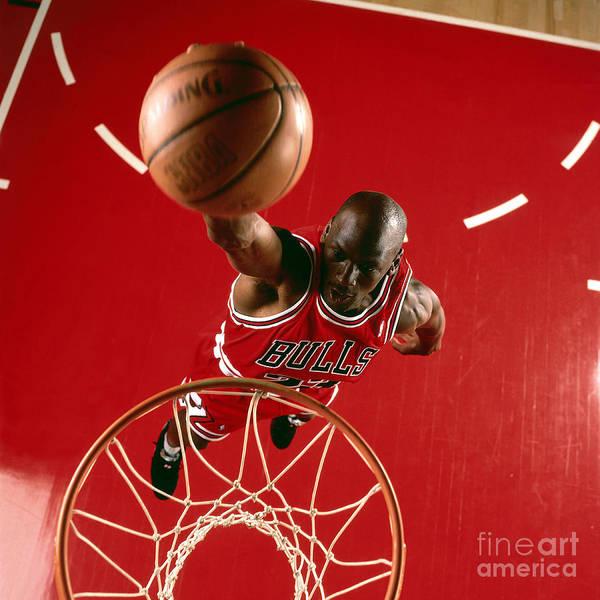 Chicago Bulls Poster featuring the photograph Michael Jordan Slam Dunk by Nba Photos