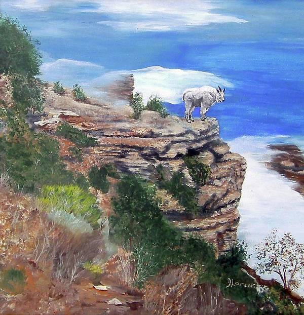Mountain Poster featuring the painting Mountain Goat by Julie Lamons