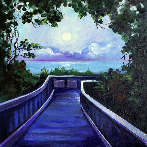 Super Moon Poster featuring the painting Path to Supermoon 2 by Valerie Vescovi