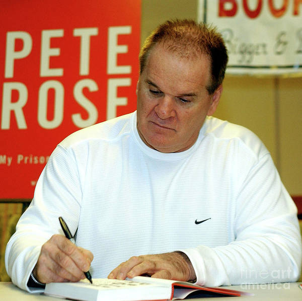 People Poster featuring the photograph Pete Rose Signs Autobiography In New by Stephen Chernin