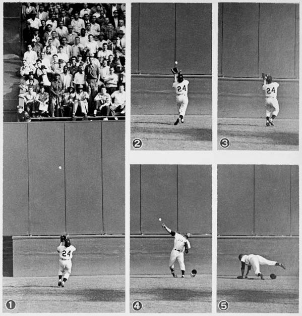 1950-1959 Poster featuring the photograph Photo Sequence Willie Mays Makes His by New York Daily News Archive