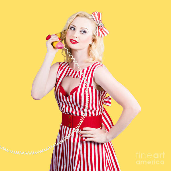Pinup Poster featuring the photograph Pin Up Woman Ordering Organic Food On Banana Phone by Jorgo Photography - Wall Art Gallery