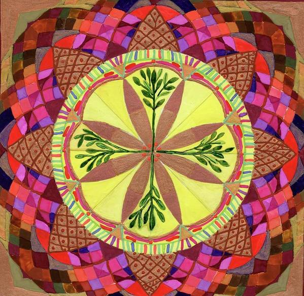 Mandala. Pine Cone. Poster featuring the painting Pine Cone Mandala by Sandy Thurlow