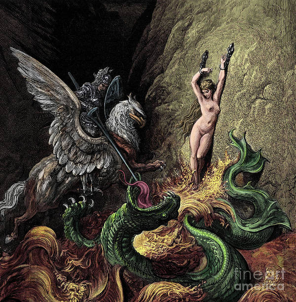 Myth Poster featuring the painting Ruggiero Rescuing Angelica by Gustave Dore