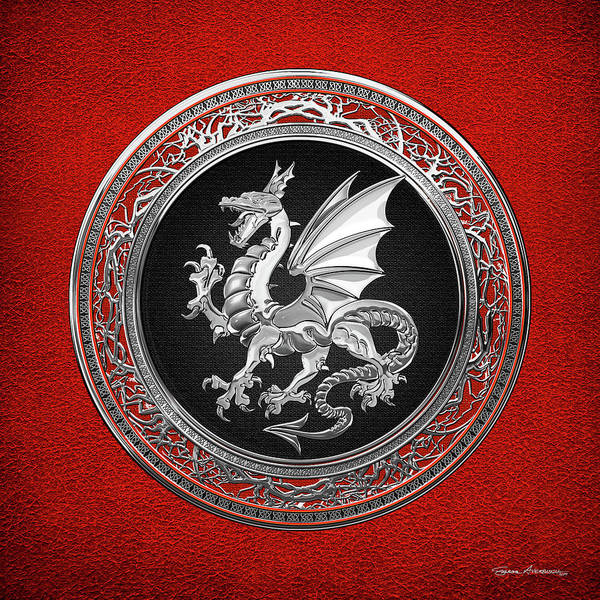 'dragons' Collection By Serge Averbukh Poster featuring the digital art Silver Winged Norse Dragon - Icelandic Viking Landvaettir on Black and Silver Medallion over Red by Serge Averbukh