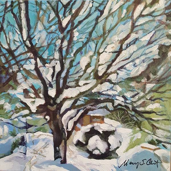 Cherry Tree Poster featuring the painting Snow Covered Cherry Tree by Mary Chant