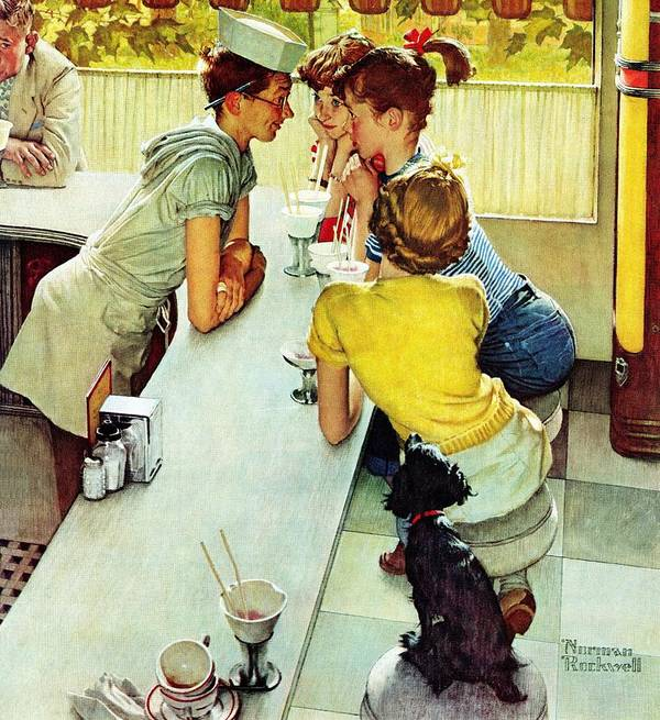 Counterman Poster featuring the drawing Soda Jerk by Norman Rockwell