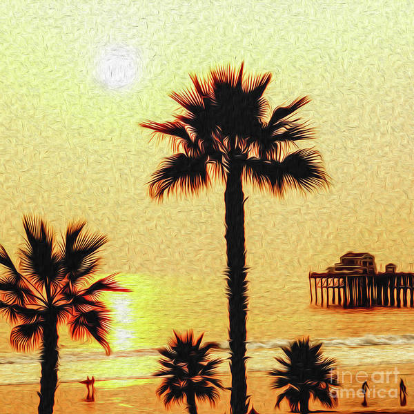 Sunset Poster featuring the digital art Sunset At The Beach In Oceanside California by Kenneth Montgomery