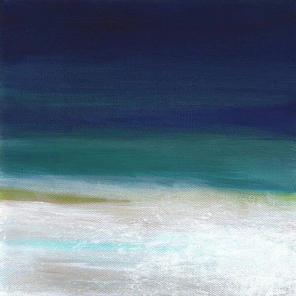 Abstract Poster featuring the painting Surf and Sky- abstract beach painting by Linda Woods