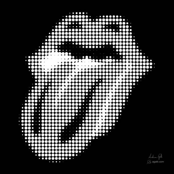 Rollingstones Poster featuring the digital art The Rolling Stones halftone white by Andrea Gatti