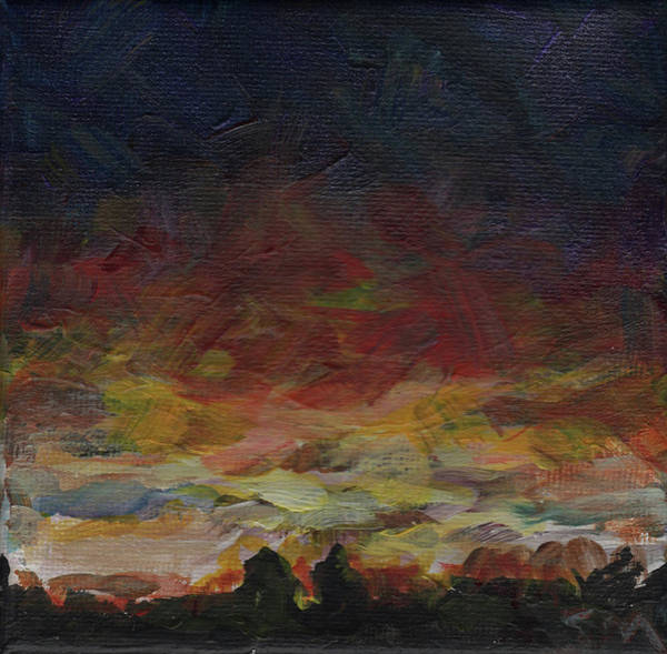 Sunset Poster featuring the painting Tiny Sunset by Susan Moore