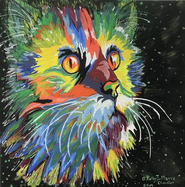 Movie Prop Poster featuring the painting Vibrant Cat by Kathy Marrs Chandler