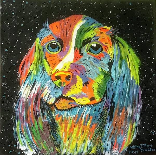 Vibrant Dog Poster featuring the painting Vibrant Dog by Kathy Marrs Chandler