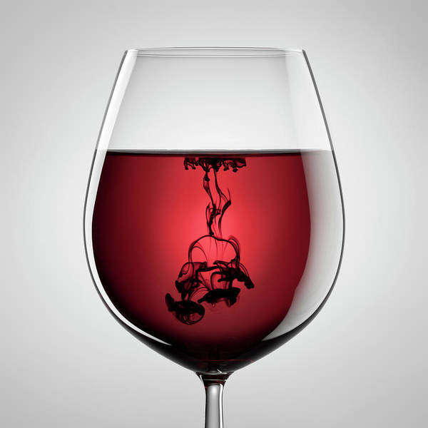 Shadow Poster featuring the photograph Wineglass, Red Wine And Black Ink by Thomasvogel