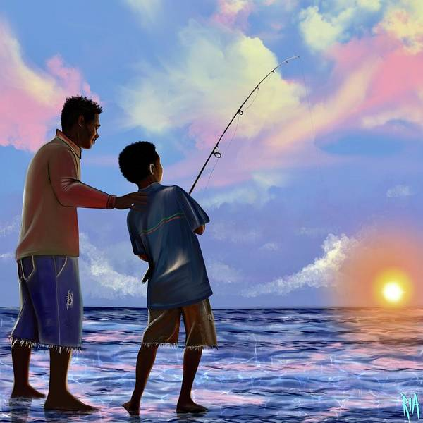 Fishing Poster featuring the digital art You make Him proud by Artist RiA