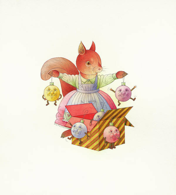 Squirrel Animals Winter Christmas Christmastree Christmastoys Holydays Poster featuring the drawing Squirrel by Kestutis Kasparavicius