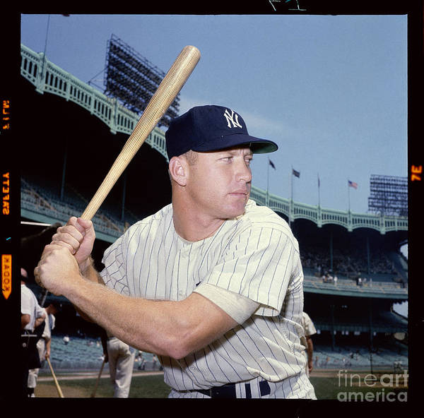 American League Baseball Poster featuring the photograph Mickey Mantle by Louis Requena