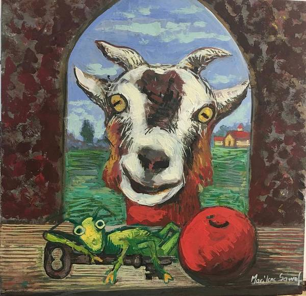Goat Poster featuring the painting Afternoon with goat by Marilene Sawaf