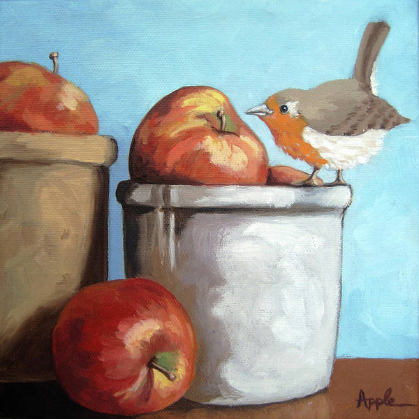 Oil Painting Poster featuring the painting An Apple A Day by Linda Apple