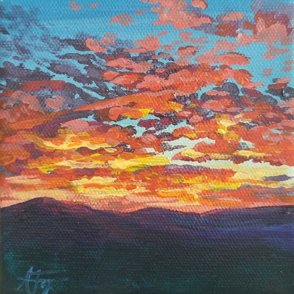 Sunset Poster featuring the painting Autumn Sunset by Allison Fox