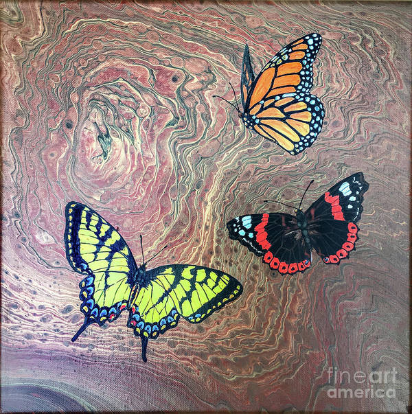 Butterflies Poster featuring the painting California Butterflies by Lucy Arnold